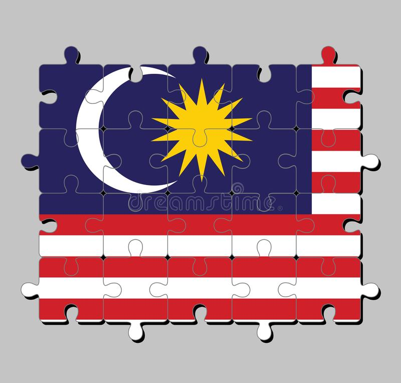 Jigsaw puzzle of Malaysia flag in blue red white and yellow color with yellow star and white Crescent moon. vector illustration