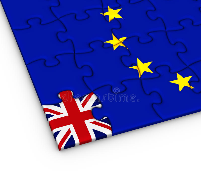 Jigsaw puzzle with the national flag of Great Britain and Europe stock illustration