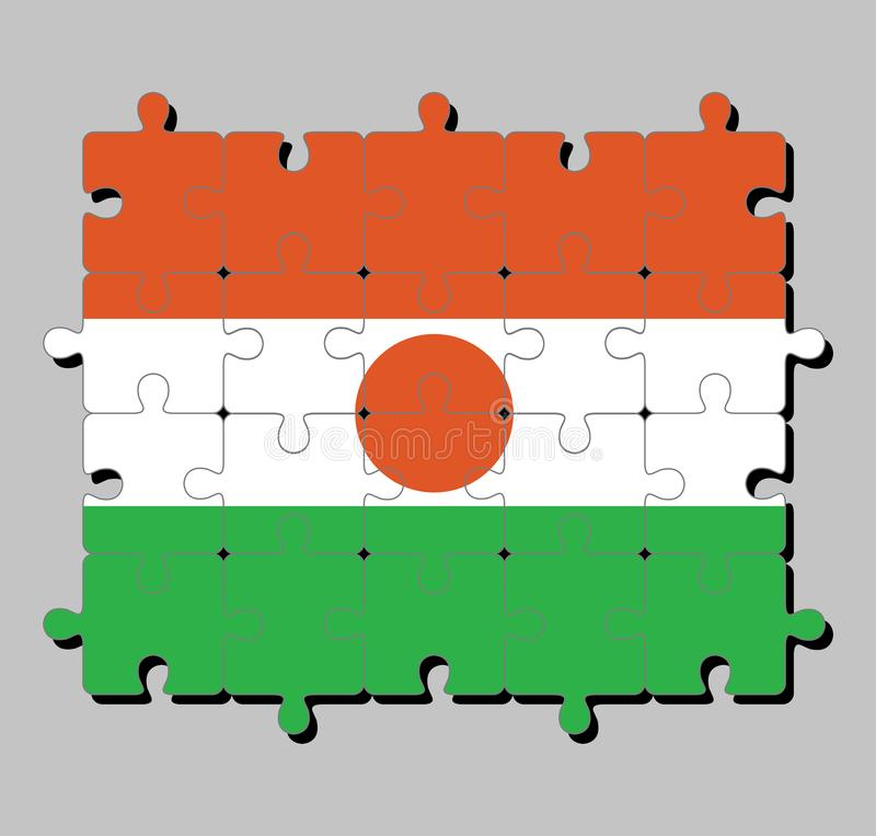 Jigsaw puzzle of Niger flag in orange white and green; charged with an orange circle in the centre. stock illustration