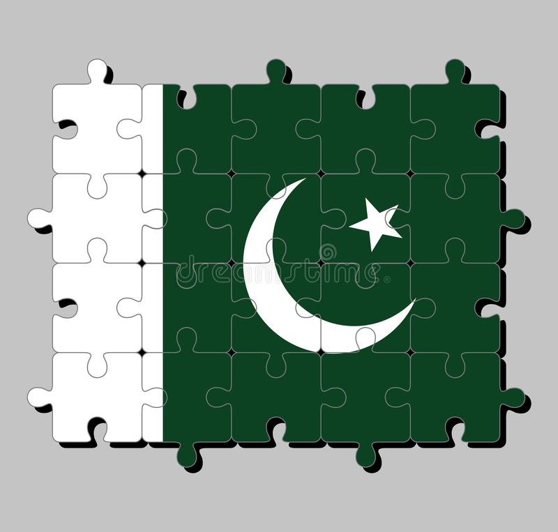Jigsaw puzzle of Pakistan flag in a white star and crescent on a dark green field, with a vertical white stripe. Concept of Fulfillment or perfection royalty free illustration