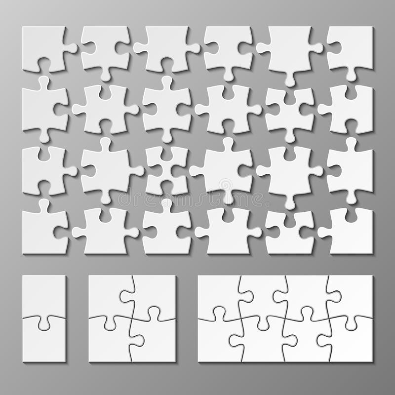 Jigsaw puzzle piece vector template isolated vector illustration