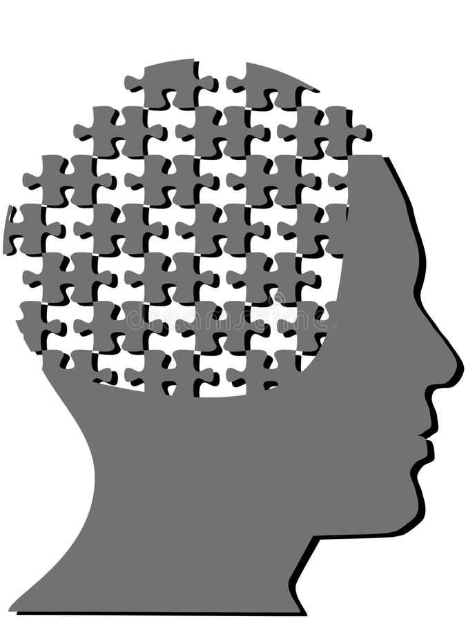 Jigsaw puzzle pieces as profile man mind head royalty free illustration
