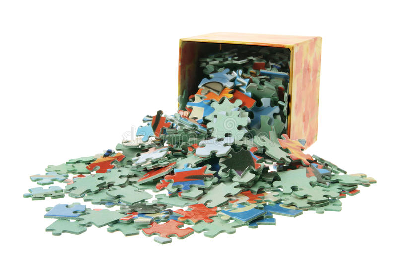 Download Jigsaw Puzzle Pieces And Box Stock Image