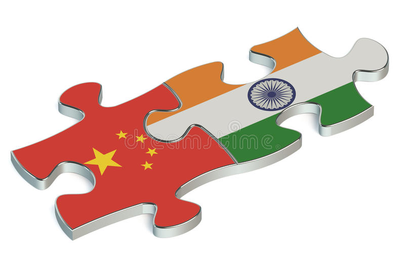 Jigsaw puzzle pieces, flag of China and flag of India stock illustration