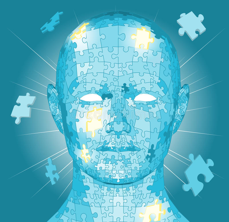Jigsaw puzzle pieces head royalty free illustration