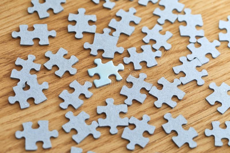 Jigsaw puzzle pieces separately stock photo