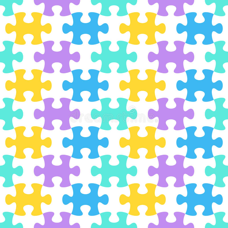 Jigsaw puzzle seamless pattern stock illustration