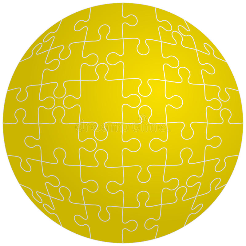 Jigsaw puzzle in the shape of a sphere. Vector royalty free illustration