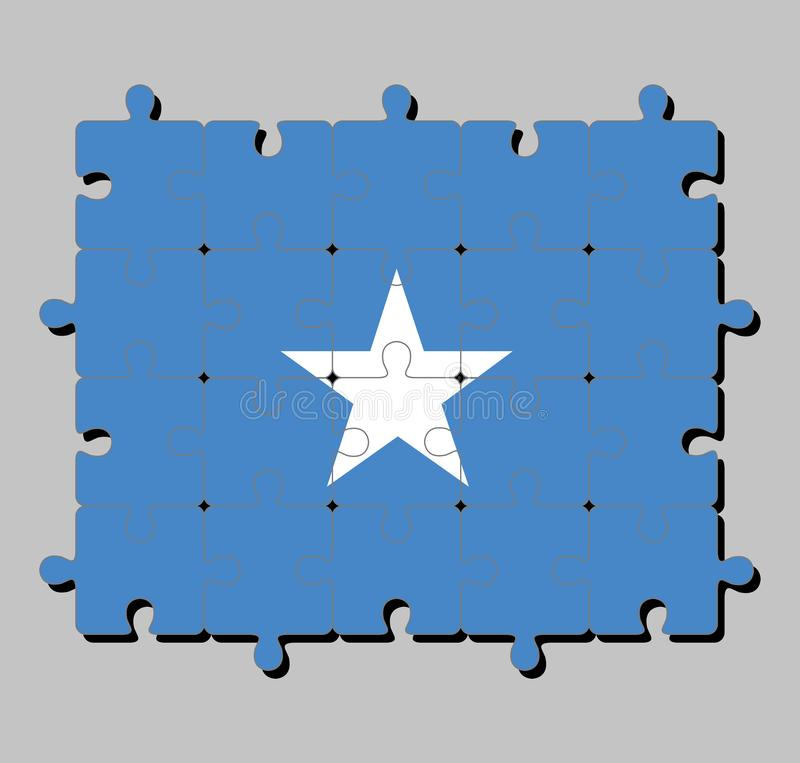 Jigsaw puzzle of Somalia flag in a single white five-pointed star centered on a light blue field. Concept of Fulfillment or perfection vector illustration