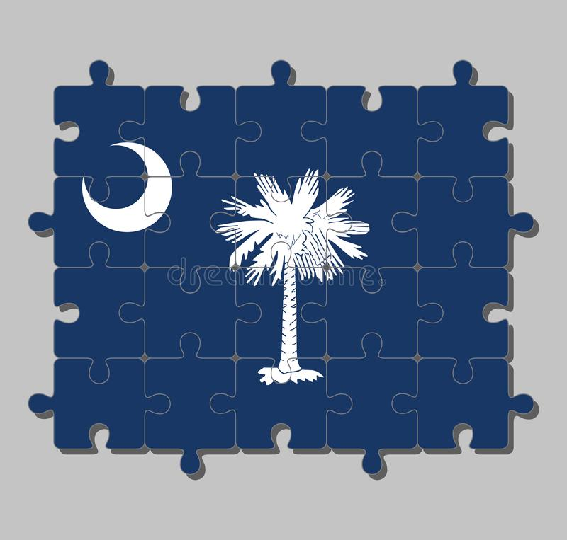 Jigsaw puzzle of South Carolina flag in white palmetto tree on an indigo field. The canton contains a white crescent. Concept of Fulfillment or perfection royalty free illustration