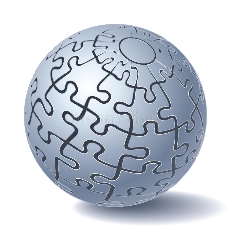 Jigsaw puzzle sphere vector illustration