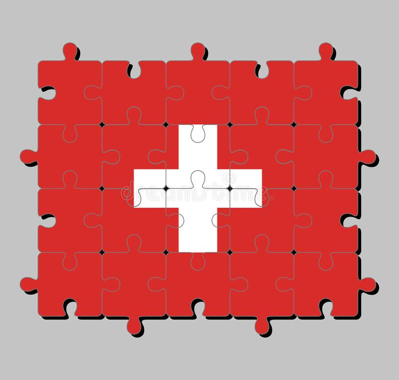Jigsaw puzzle of Switzerland flag in consists of a red flag with a white cross in the centre. Concept of Fulfillment or perfection royalty free illustration