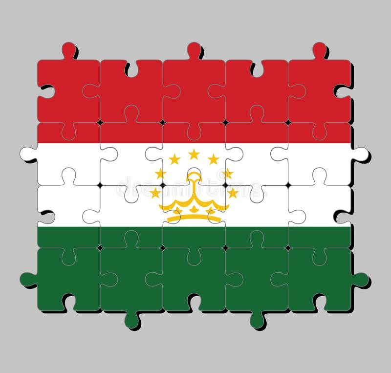 Jigsaw puzzle of Tajikistan flag in a red white and green; charged with a crown surmounted by an arc of seven stars. stock illustration