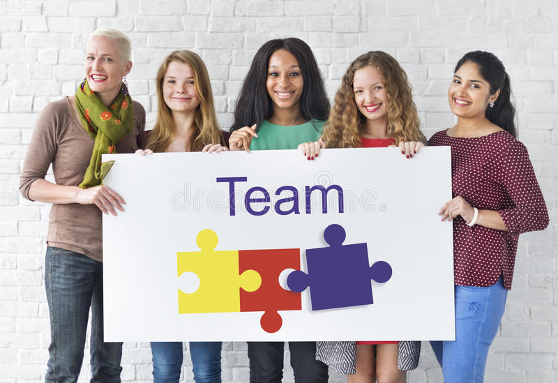 Jigsaw Puzzle Team Building Support Graphic Concept stock image