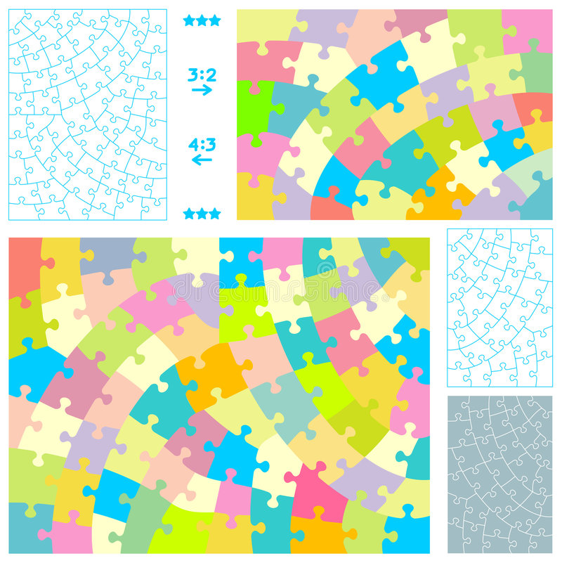 Jigsaw puzzle templates vector illustration