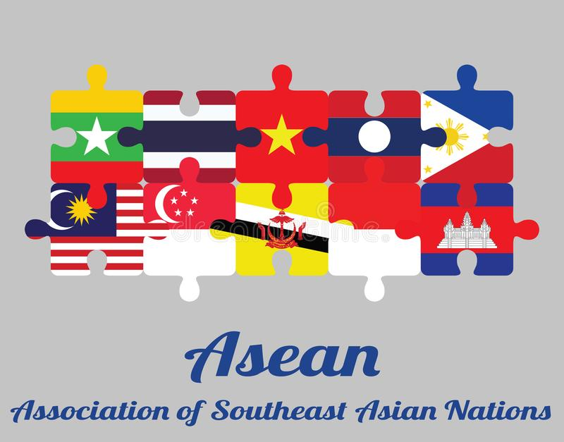 Jigsaw puzzle of ten countries member flag of Asean with text: Association of Southeast Asian Nations. Concept of Friendly or good cooperation between ten royalty free illustration