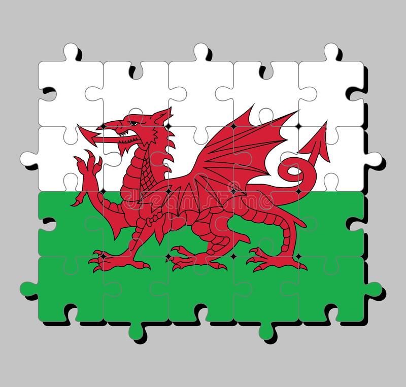 Jigsaw puzzle of Wales flag in consists of a red dragon passant on a green and white field. Concept of Fulfillment or perfection vector illustration
