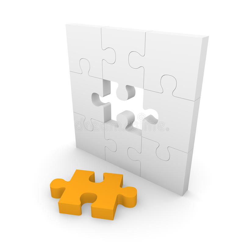 Jigsaw puzzle wall with gap. 3d rendering stock illustration