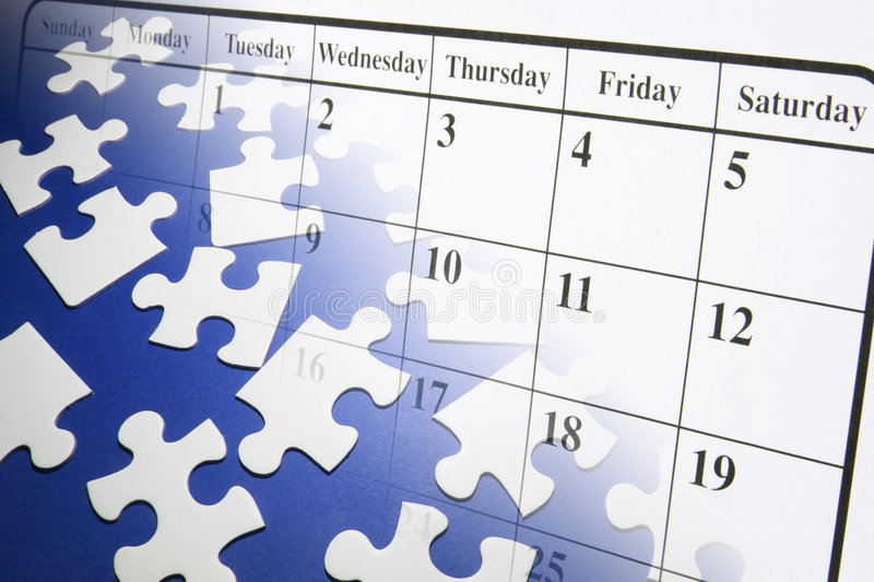 Jigsaw Puzzles and Calendar. Composite of Jigsaw Puzzles and Calendar stock image