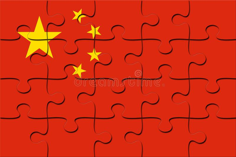 Jigsaw Puzzles with China flag stock image