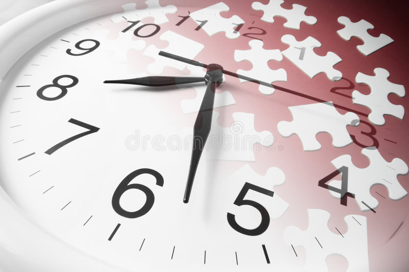 Jigsaw Puzzles and Clock. Composite of Jigsaw Puzzles and Clock royalty free stock images