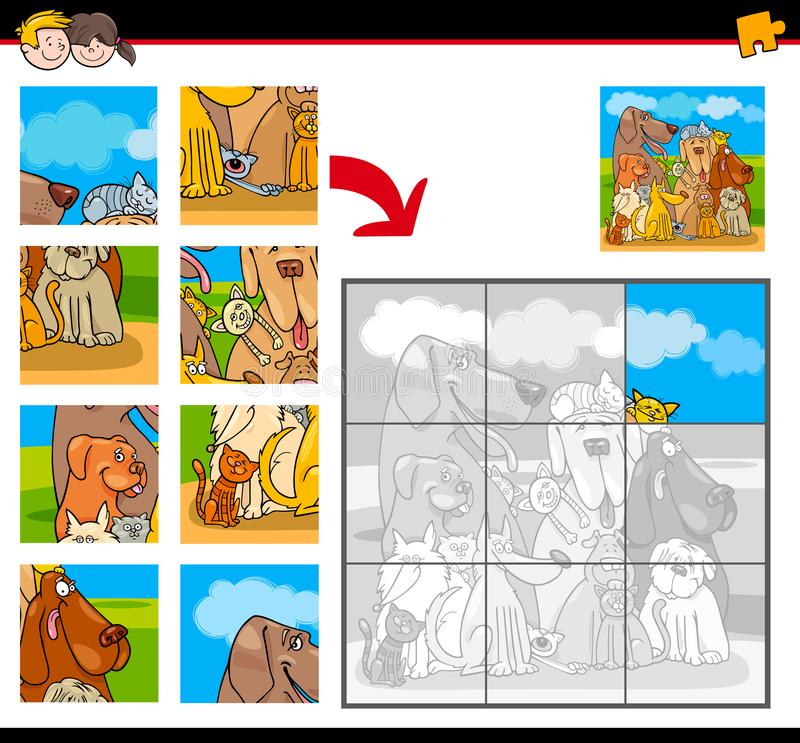 Jigsaw puzzles with dogs and cats animals vector illustration
