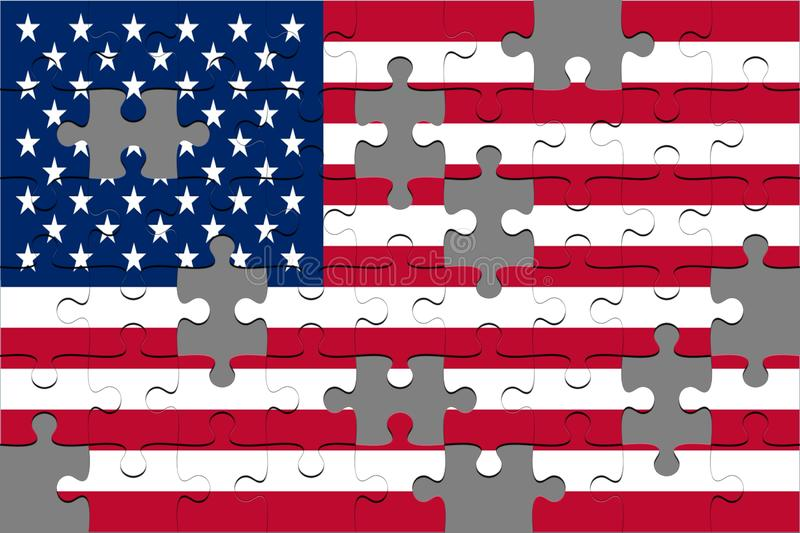 Jigsaw Puzzles with Flag USA royalty free stock images