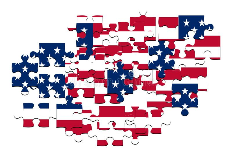 Jigsaw Puzzles with Flag USA royalty free stock image