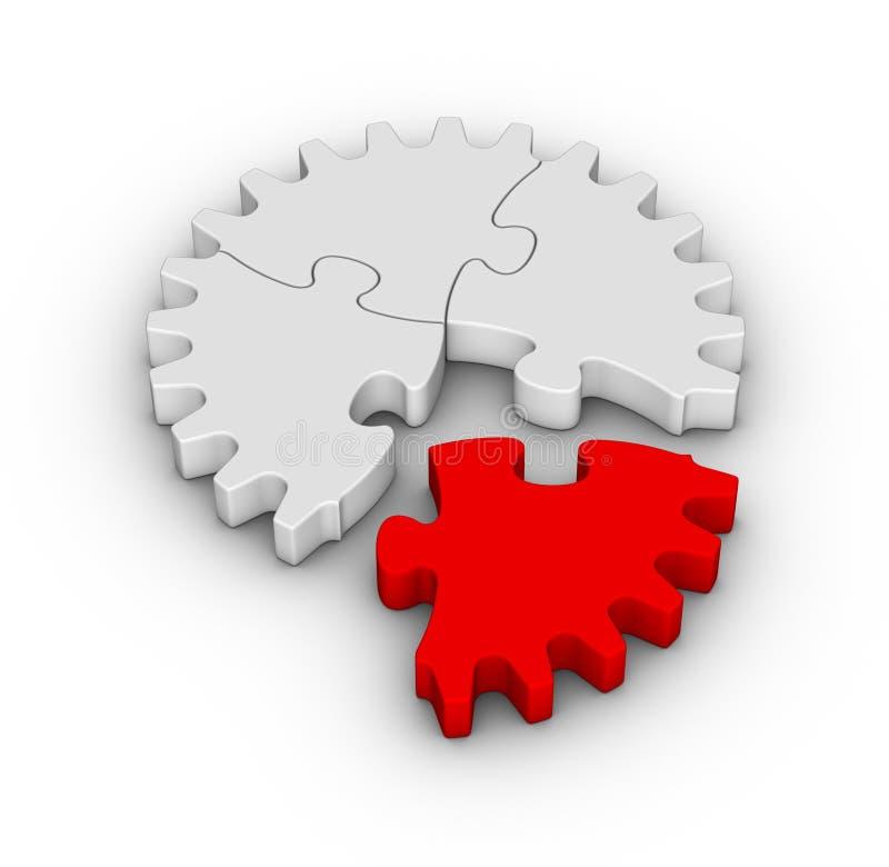 Jigsaw puzzles gear vector illustration