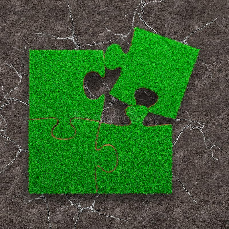Four jigsaw puzzles with green grass. Jigsaw puzzles of green grass texture, on dry cracked gray land, high angle view royalty free stock photo
