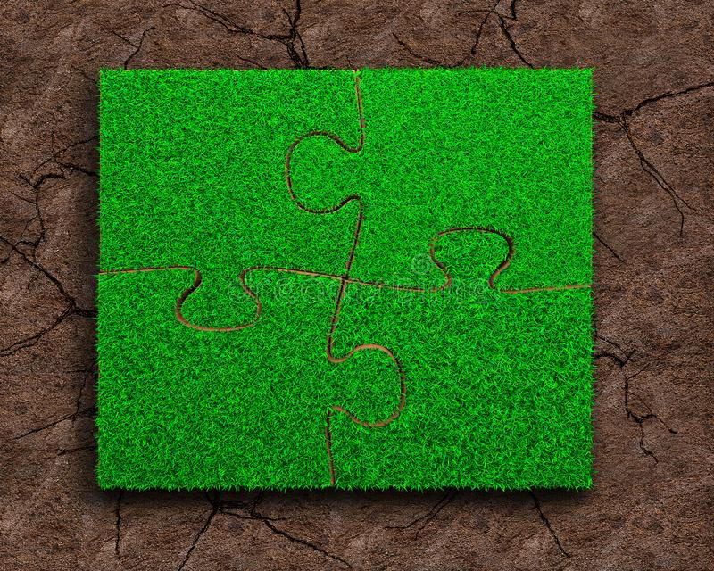 Four jigsaw puzzles with green grass. Jigsaw puzzles of green grass texture, on dry red soil background, high angle view royalty free stock photo