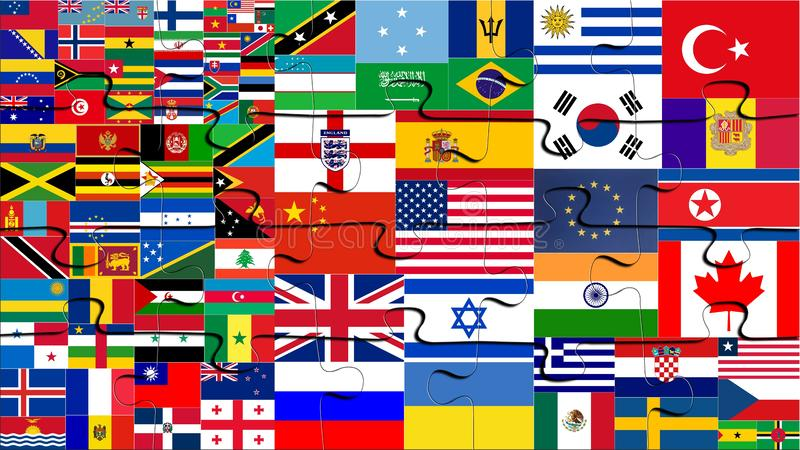 Jigsaw Puzzles with world flags royalty free stock photos