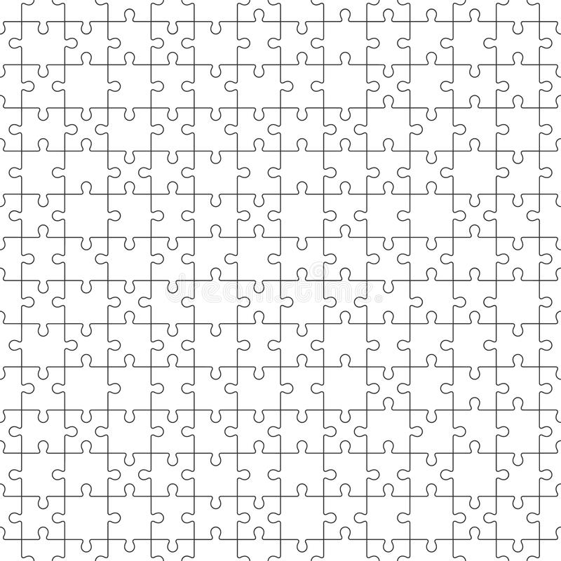 Jigsaw Seamless Pattern with white puzzle pieces royalty free illustration