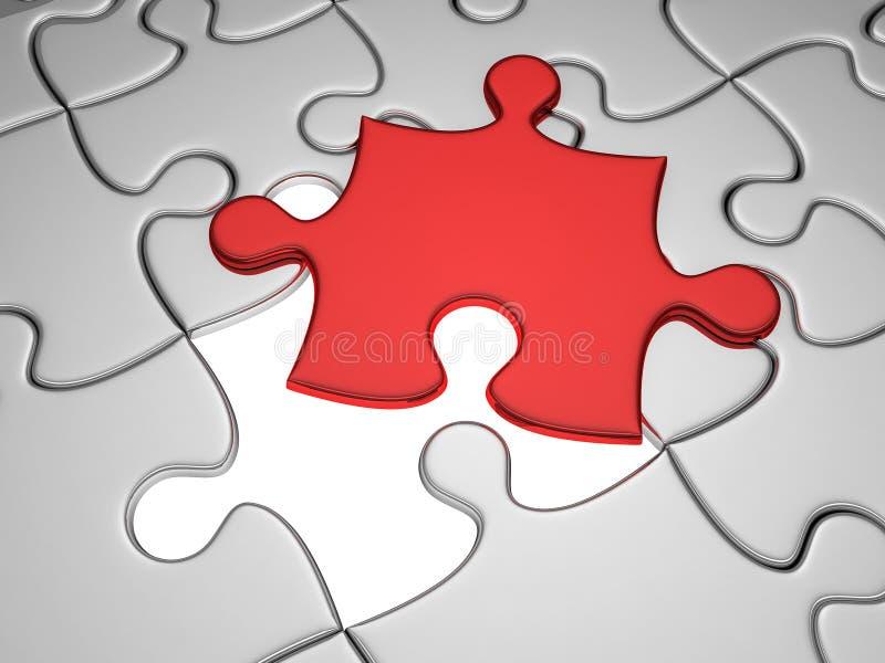 jigsaw som missa en styckred stock illustrationer