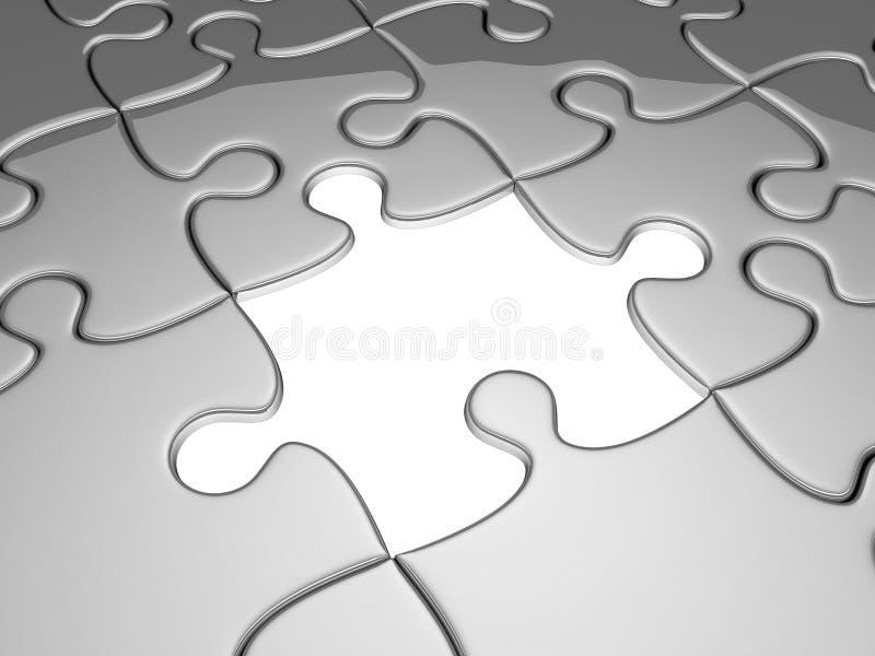 jigsaw som missa ett stycke stock illustrationer