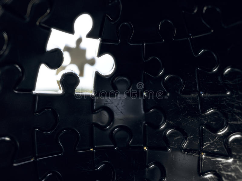 Jigsaw sphere puzzle with one piece light royalty free illustration