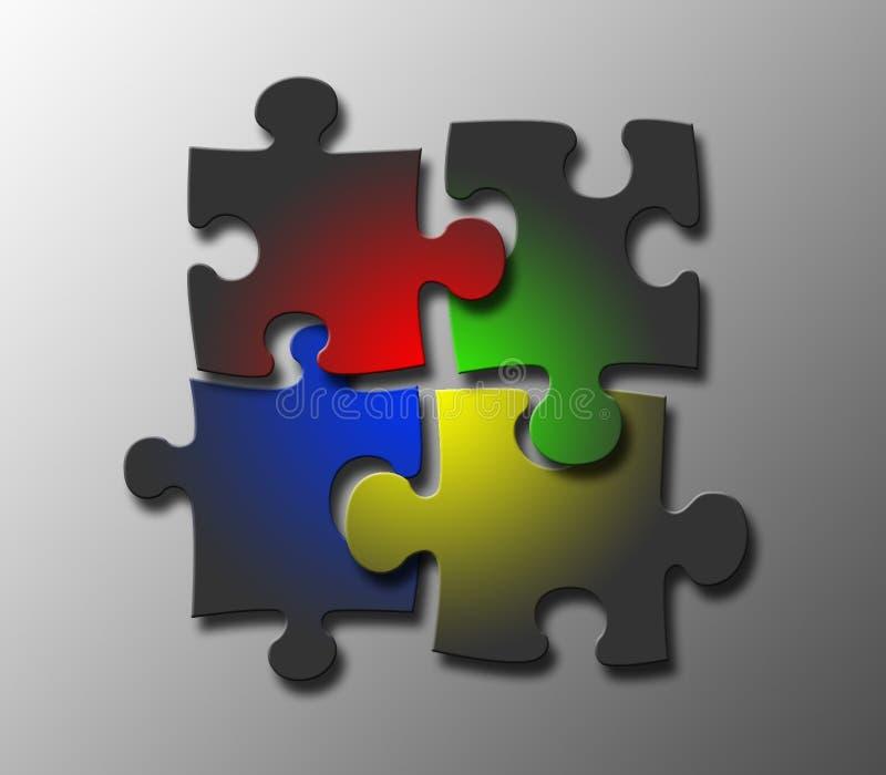 jigsaw tillsammans royaltyfri illustrationer