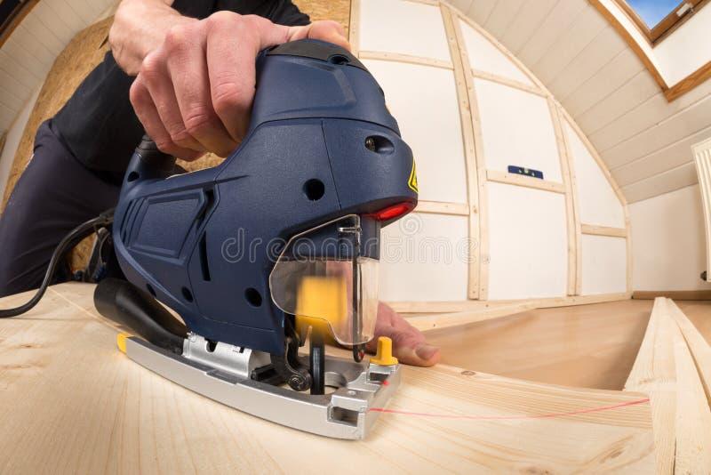 Download Jigsaw at work stock photo. Image of housebuilding, laminate - 36925022