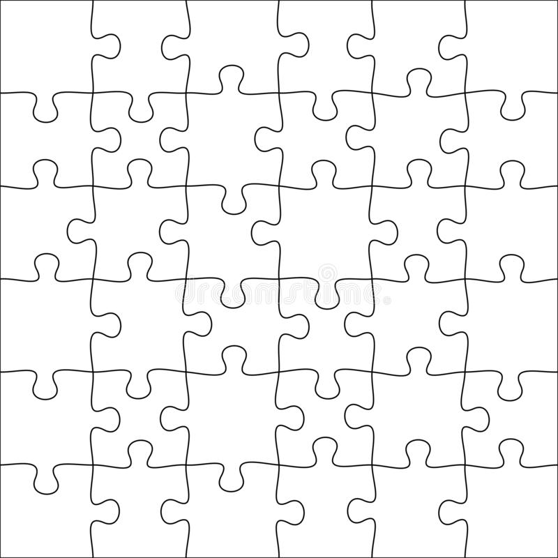 Jigsaws puzzles. Square puzzle 6x6 grid, jigsaw game and join 36 picture pieces vector illustration stock illustration