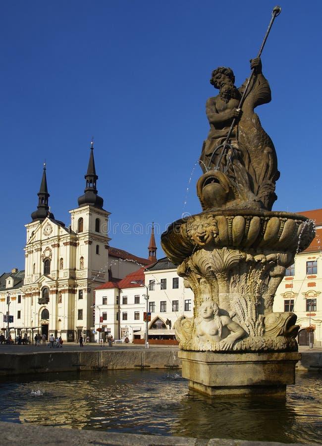Jihlava city, Czech republic. Masaryk square in Jihlava with Neptun fountain and St. Jacob church royalty free stock photos