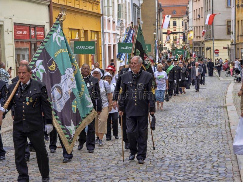 JIHLAVA CZECH REPUBLIC JUNE 22Th. 2019, The Mining Parade, June 22th. 20 Th, Jihlava, Czech Republic. The Mining Parade, June 22th. 20 Th, Jihlava, Czech royalty free stock image
