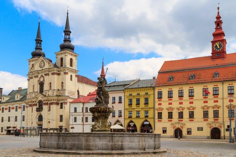 Jihlava (Iglau) Main (Masaryk) Square with Saint Ignatius Church. Moravia, Czech Republic royalty free stock image
