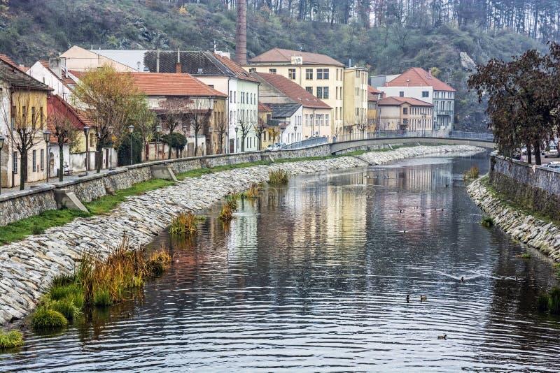 Jihlava river, Trebic, Czech republic. Old buildings are reflected in Jihlava river, Trebic, Czech republic. Travel destination. Architectural theme royalty free stock image