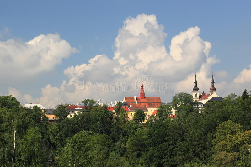 Jihlava roofs and spires. The roofs and spires of historic churches in Jihlava, Czech epublic royalty free stock photos