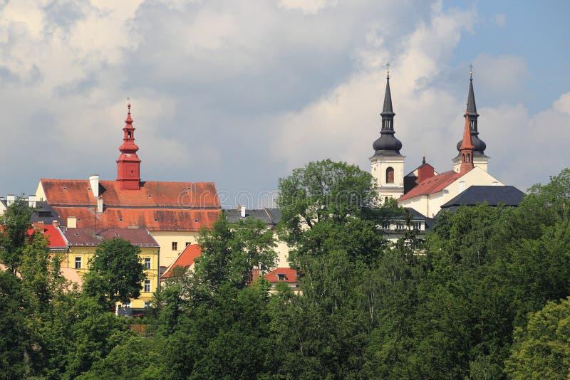 Jihlava. The towers of churches in Jihlava, Czech Republic stock photography