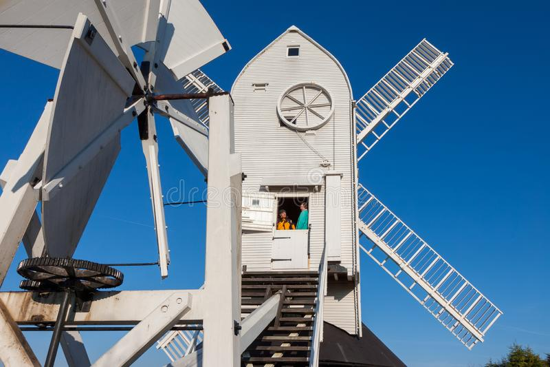Jill Windmill på vinters dag i Clayton East Sussex på Januari 3, 2009 Oidentifierade tv? arkivbild