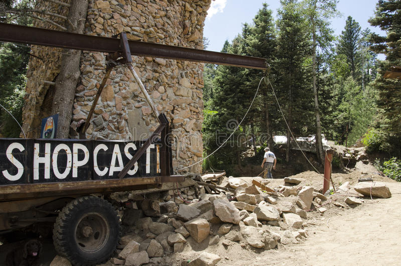 Jim Bishop working on Bishops Castle in Colorado. For nearly 60 years, Jim Bishop has been constructing one of the most impressive monuments to perseverance in stock photos