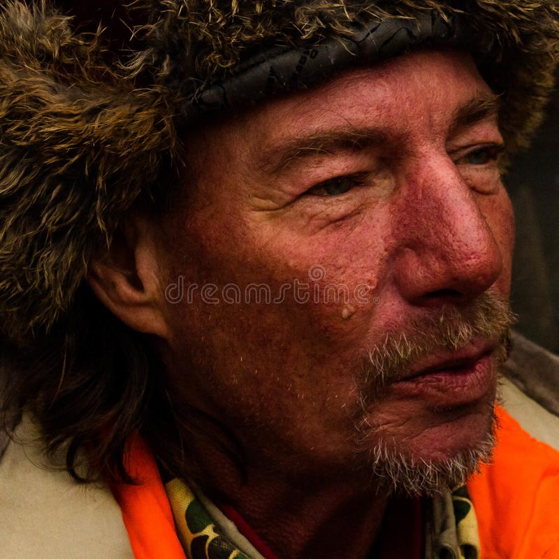 A Man on the Street of Portland,Maine. Jim is homeless, alcoholic, and a veteran, He is representative of some of the homeless people found peddling on the royalty free stock photos