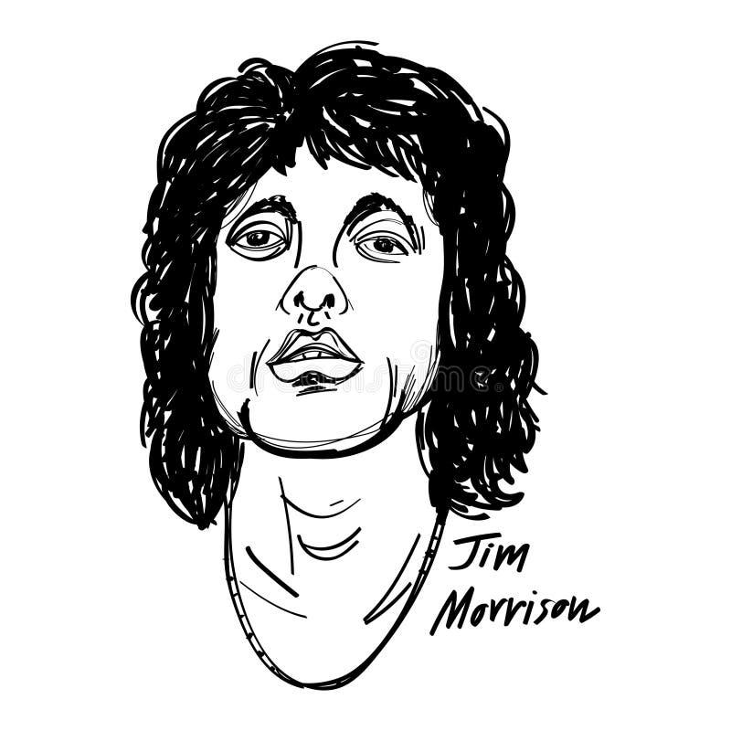 Jim Morrison kreskówki ilustracja czarny i biały ilustracja wektor