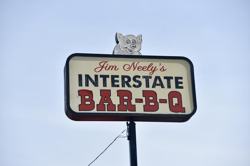 Interstate Bar-B-Q, Memphis, TN. Jim Neely`s Interstate Barbecue in Memphis, TN has been around for a long time. He has several restaurants but the original is stock image